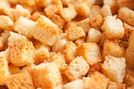 croutons: Appetizing croutons close up.