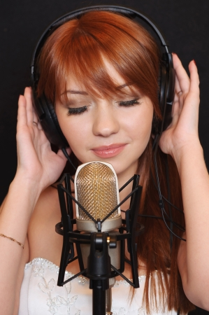 Pretty girl in headphones.