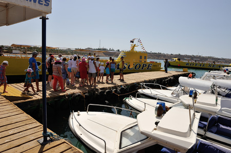 sinay: police boats at the marina in Sharm El Sheikh 02 july 2014