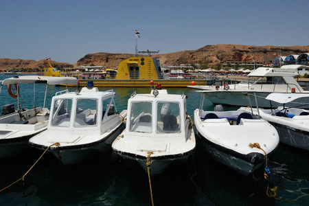 sinay: police boats at the marina in Sharm El Sheikh 02 july 2014