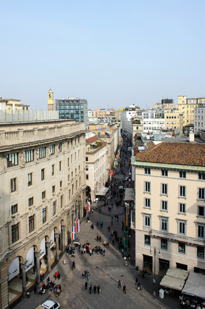 MILAN, ITALY - MARCH 20, 2015: Viev from the top of Duomo Cathedral.