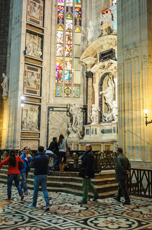 christian altar: MILAN, ITALY - MARCH 20, 2015: Inside of Duomo Cathedral. Editorial