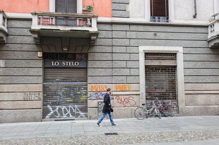 ticinese: MILAN, ITALY - MARCH 22, 2015: On the streets of the city. District Ticinese. Editorial
