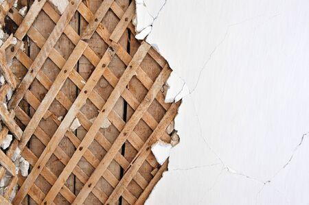 lath: Background. Plaster lath close up.