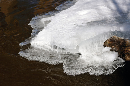 thawing: Spring melting of ice and the flow of water.