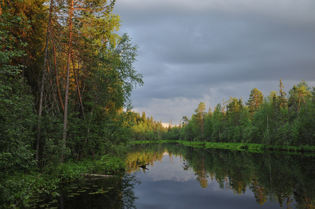 river view: Landscape. Forest lake before the rain with thick clouds and contrast warm sunlight.