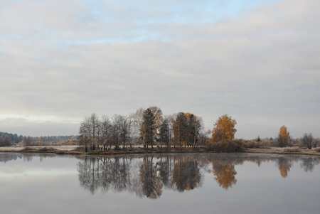 rhyme: Landscape of the lake by the first frost