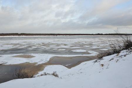 Freezings on the river Vychegda in late November. Reklamní fotografie