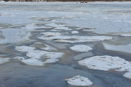 Freezing's on the river Vychegda in late November.