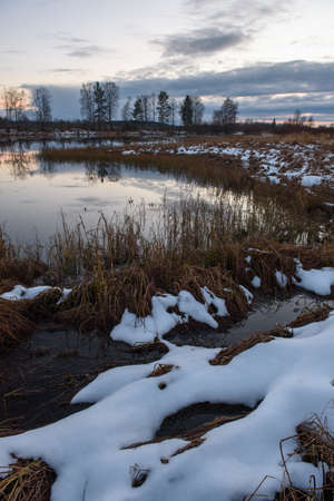 View of the lake in late autumn at sunset with dry tall grass and the first snow in the foreground.