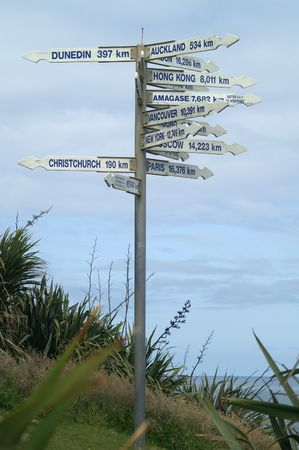 International sign post in Westport, South Island New Zealand