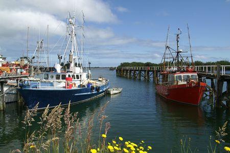 Fishing boats in Westport, South Island New Zealand