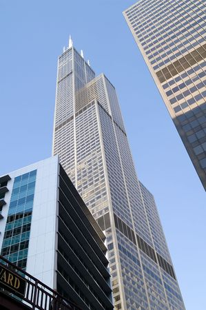 Modern office buildings reaching high into the sky Stock Photo