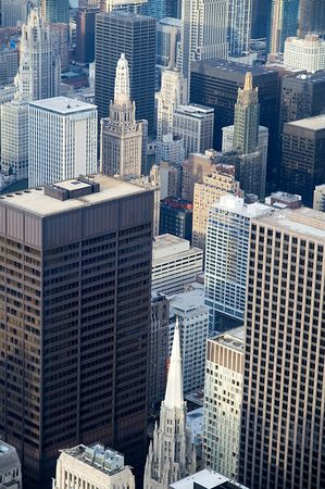 arial: Urban jungle - Arial view over downtown Chicago  Stock Photo