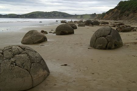 Spherical boulders on a beach in New Zealand