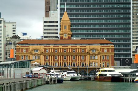 Ferry Terminal and old Ferry Building in Auckland Harbor, New Zealand