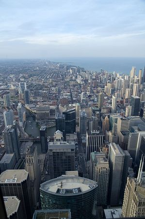Urban jungle - View over Chicago and Lake Michigan Stock Photo