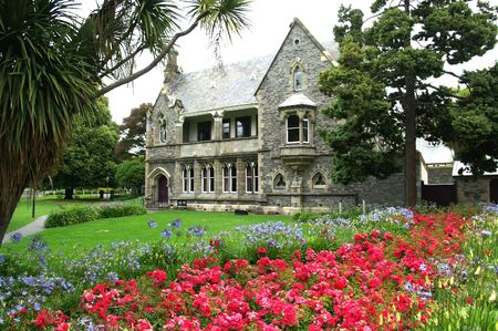 Gothic Revival Building at the Avon River in Christchurch, New Zealand