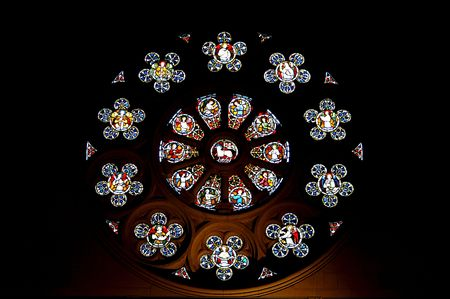 Rosette window in Christchurch Cathedral, New Zealand Stock Photo