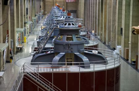 hydro: Seven electro magnetic power generators at Hoover Dam  Stock Photo