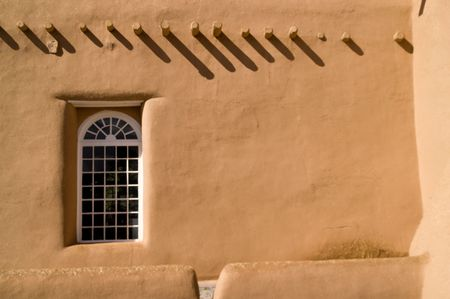 adobe wall: San Francisco de Asis, Ranchos de Taos, NM Stock Photo