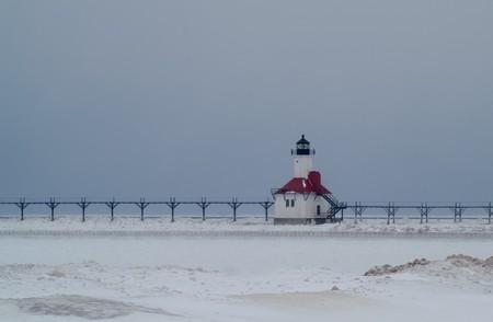 lake michigan lighthouse: Faro de San Jos�, Michigan, EE.UU. Foto de archivo