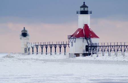 St., Joseph North Pier Lighthouse in Winter  photo