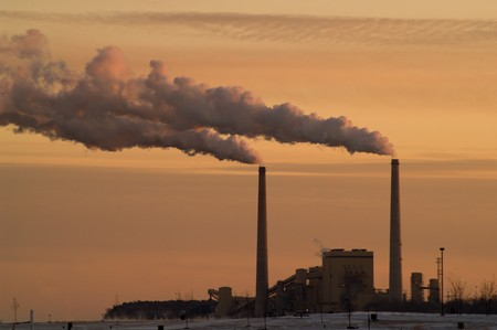 Coal Power Plant at Lake Michigan  Stock Photo