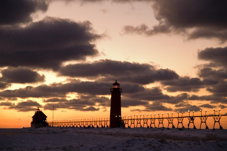 Sunset Over Grand Haven Lighthouse,