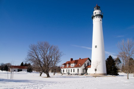 lake michigan lighthouse: Viento punto Faro, Racine, Wisconsin, EE.UU.