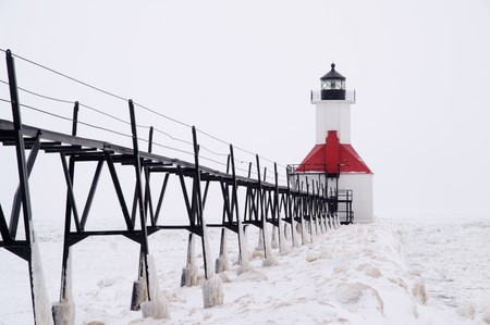 Catwalk leading to St. Joseph North Pierhead Lighthouse, St. Joseph, Benton Harbor, Michigan, USA Stock Photo