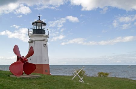 erie: Vermilion Lighthouse, Lake Erie, Ohio, USA Stock Photo