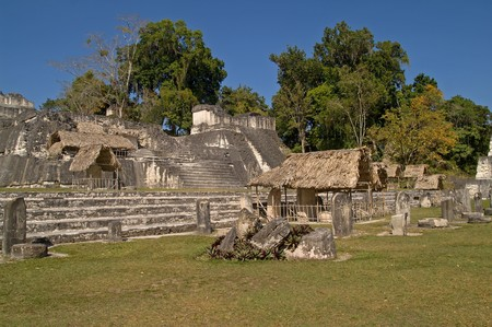 Central Acropolis Pre-Columbian Maya Site at Tikal National Park, Guatemala, a UNESCO World Heritage Site Stock Photo
