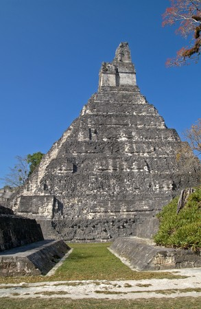 Ball court at the side of the Great Jaguar Tempel Tikal National Park, Guatemala; A UNESCO World Heritage Site