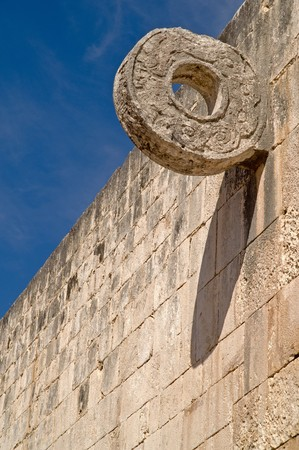 sacrifices: Carved stone hoop at the Great Ball Court  in Chichen Itza, Yucatan, Mexico