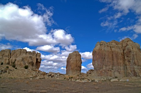 adobe pueblo: Sacred Rock Formation near Acoma Pueblo, Sky City, New Mexico, USA Stock Photo