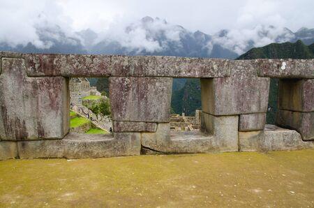trapezoid: Temple of the three windows on the Sacred Plaza in Machu Picchu, Peru  Stock Photo