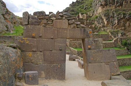 sacred valley of the incas: Doorway at the upper entrance to the Inca site of Ollantaytambo, located in the Sacred Valley of the Incas at about 2,792 meters  9,160 feet  above sea level