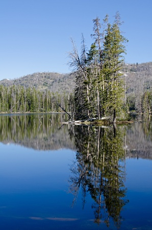 sylvan: Reflection on Sylvan Lake, Yellowstone National Park, Wyoming, USA Stock Photo