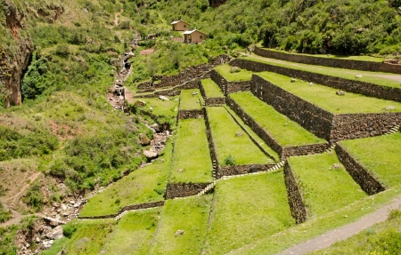 cuzco: Agricultural terraces at the ancient Inca site Pisac, Peru