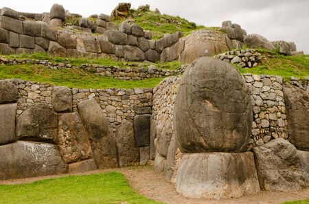 peru: Gigantic boulders and elaborate masonry at Sacsayhuaman, an ancient the Inca site high above the city of Cusco, Peru
