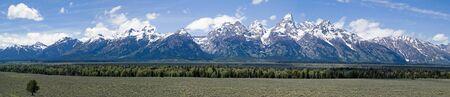 wyoming: Composite panorama of the scenic snow-capped Teton Range, Grand Teton National Park, Wyoming, USA