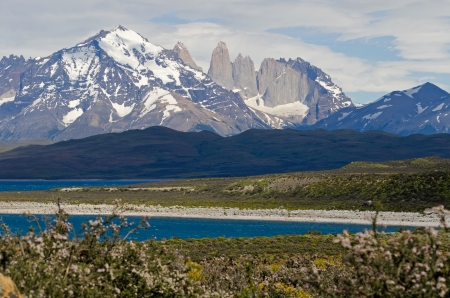 sarmiento: The Three Towers of Paine seen from lake Sarmiento, Torres del Paine National Park a UNESCO Biosphere Reserve in Patagonia, Chile