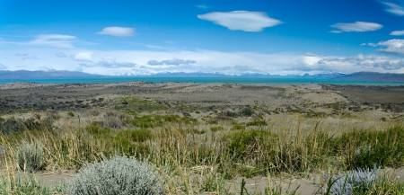 el calafate: View from route   40 at the east shore of Lago Argentino, Patagonia, Argentina Stock Photo