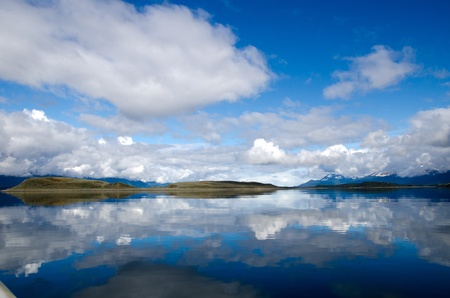 Dramatic sky and reflection on the Beagle Channel, Patagonia, Argentina photo