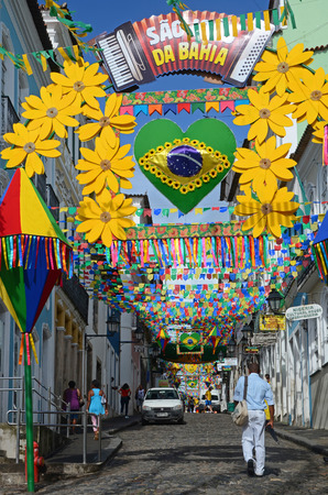 FIFA World Cup 2014  Beautifully decorated streets in the Pelourinho the historic center of Salvador Bahia State Brazil. A UNESCO World Heritage site