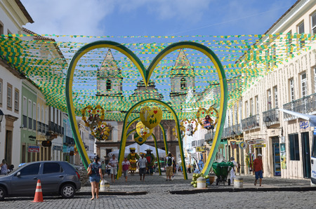 unesco world heritage site: FIFA World Cup 2014  Beautifully decorated streets in the Pelourinho the historic center of Salvador Bahia State Brazil. A UNESCO World Heritage site