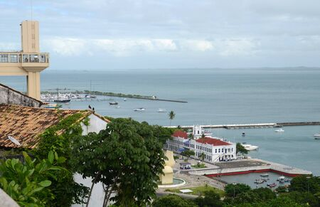 elevador: Lacerda elevator and a view over the All Saints Bay from the upper old city the Pelourinho Salvador Bahia Brazil