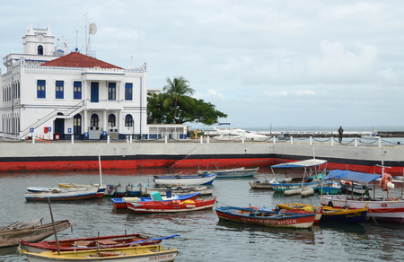 The old harbor area with the headquarters of the 2nd Naval District in Salvador da Bahia, Brazil