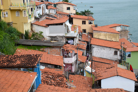 Favela in Salvador da Bahia Brazil. This part of the desolate coastal road is known for tourist muggings.  No surprise here.